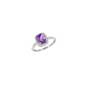 9K White Gold with Rectangle Shaped Amethyst Diamond Ring