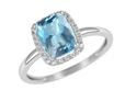 9K White Gold with Rectangle Shaped Blue Topaz Diamond Ring-diamonds-Lotus Gold