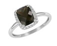 9K White Gold with Rectangle Shaped Smoky Quartz Diamond Ring-rings-Lotus Gold