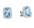 9K White Gold with Rectangle Shaped Blue Topaz Diamond Earring-diamonds-Lotus Gold