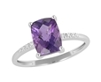 9K White Gold with Rectangle Shaped Amethyst Diamond Ring-diamonds-Lotus Gold
