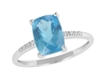 9K White Gold with Rectangle Shaped Blue Topaz Diamond Ring-rings-Lotus Gold