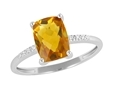 9K White Gold with Rectangle Shaped Citrene Diamond Ring-diamonds-Lotus Gold