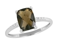 9K White Gold with Rectangle Shaped Smoky Quartz  Diamond Ring-diamonds-Lotus Gold