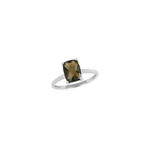 9K White Gold with Rectangle Shaped Smoky Quartz  Diamond Ring