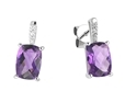 9K White Gold with Rectangle Shaped Amethyst  Diamond Earring-earrings-Lotus Gold