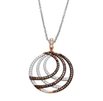 10K white/ rose gold 2 colour pendant-diamonds-Lotus Gold
