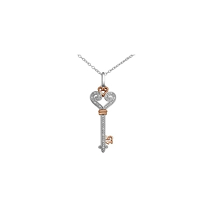 10kt White and  rose gold diamond key pendant