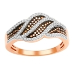 10kt rose gold black/white diamond ring size u7-diamonds-Lotus Gold