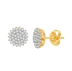 10kt yellow gold 0.37ct diamond cluster earring GH-SI2-diamonds-Lotus Gold