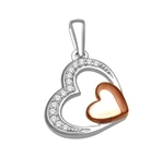 10kt white/rose gold diamond pendant  -diamonds-Lotus Gold