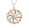 10KT WHITE/ROSE GOLD 0.15CT DIAMOND HEART FLOWER PENDANT-diamonds-Lotus Gold