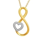 10Kt Yellow/White Gold 0.06ct Diamond Heart Twist Pendant-diamonds-Lotus Gold