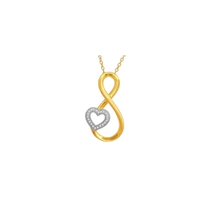 10Kt Yellow/White Gold 0.06ct Diamond Heart Twist Pendant