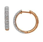 10Kt Rose Gold 0.13ct Diamond Hoop Earrings -diamonds-Lotus Gold